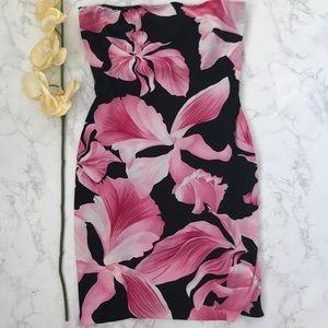 Caché floral strapless tube dress black pink m